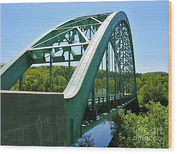 Wood Print featuring the photograph Bridge Spanning Connecticut River by Sherman Perry