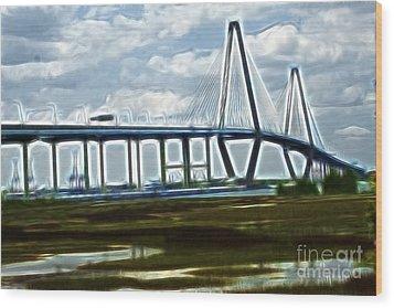 Bridge To Charleston Wood Print by Darleen Stry