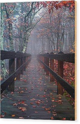 Bridge To Mist Woods Wood Print