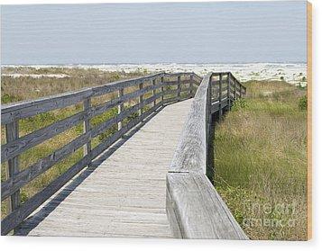 Bridge To The Beach Wood Print by Glennis Siverson