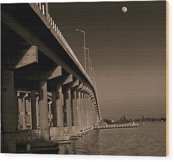 Bridge To The Moon Wood Print by Roger Wedegis