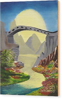 Bridge To The Moon Wood Print
