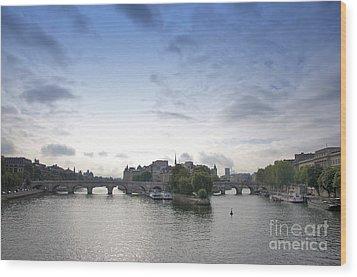 Bridges On River Seine. Paris. France Wood Print by Bernard Jaubert
