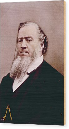 Brigham Young 1801-1877, Hand Colored Wood Print by Everett