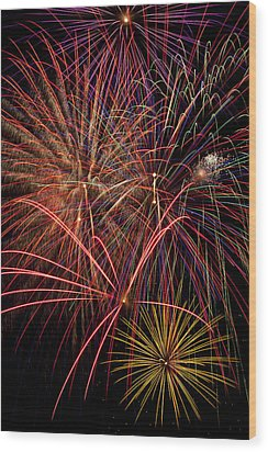 Bright Colorful Fireworks Wood Print by Garry Gay