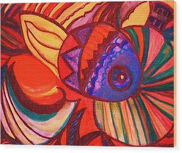 Bright Fishy With Fans And Swirls Wood Print by Anne-Elizabeth Whiteway