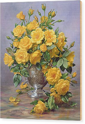 Bright Smile - Roses In A Silver Vase Wood Print by Albert Williams