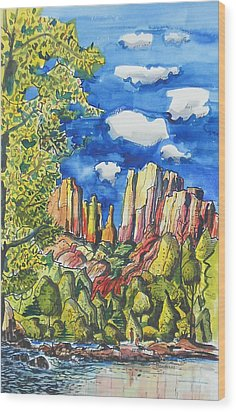 Wood Print featuring the painting Bright Spring Day by Terry Banderas