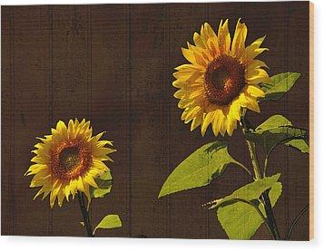 Wood Print featuring the photograph Bright Sunflower Pair by Nancy De Flon