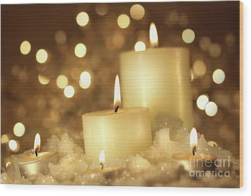 Brightly Lit Candles In Wet Snow Wood Print by Sandra Cunningham