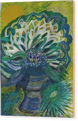 Brightness Bouquet From My Imagination Wood Print by Anne-Elizabeth Whiteway