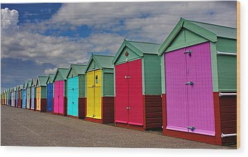 Brighton Beach Huts Wood Print by Phil Clements