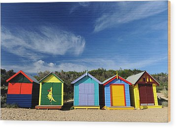 Wood Print featuring the photograph Brighton Beach by Yew Kwang