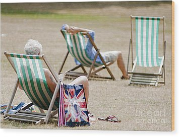 British Deck Chairs Wood Print by Andrew  Michael