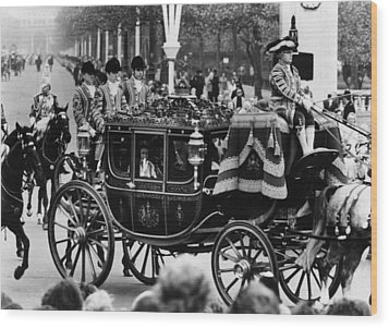 British Royalty. In Carriage, From Left Wood Print by Everett