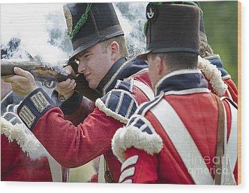 British Soldier Shooting Wood Print by JT Lewis