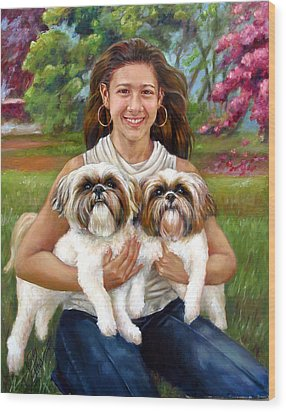 Wood Print featuring the painting Brittany And Her Shih Tzusu by Nancy Tilles