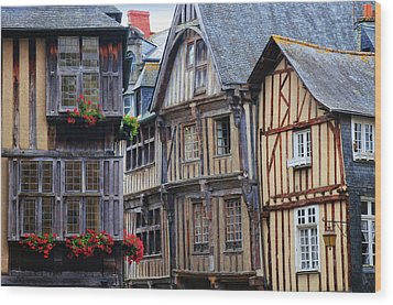 Wood Print featuring the photograph Brittany Buildings by Dave Mills
