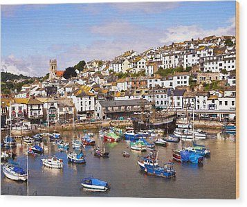 Brixham Harbour Devon Wood Print