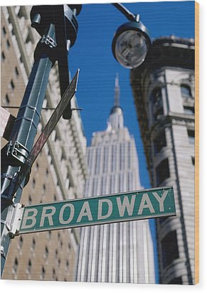 Broadway Sign And Empire State Building Wood Print by Axiom Photographic