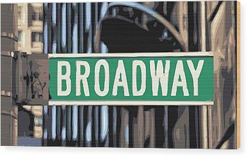 Broadway Sign Color 16 Wood Print