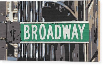 Broadway Sign Color 6 Wood Print