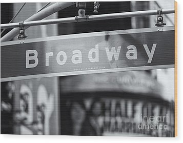 Broadway Street Sign II Wood Print by Clarence Holmes