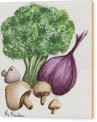 Broccoli Forest Wood Print by Paula Greenlee