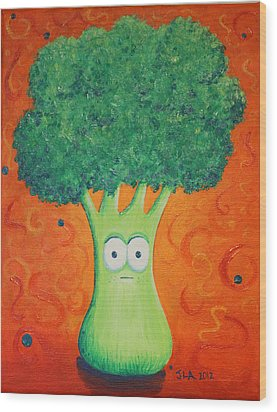 Brocolli Wood Print by Jennifer Alvarez