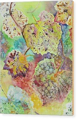 Wood Print featuring the painting Broken Leaf by Karen Fleschler