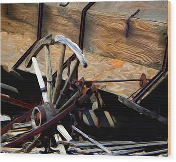 Broken Wagon Wheel Wood Print by Gilbert Artiaga