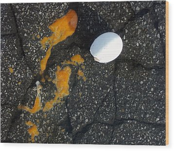Broken White Egg And Orange Yolk On Black Ground Wood Print by Matthias Hauser