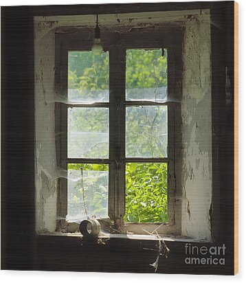 Broken Window. Wood Print by Bernard Jaubert