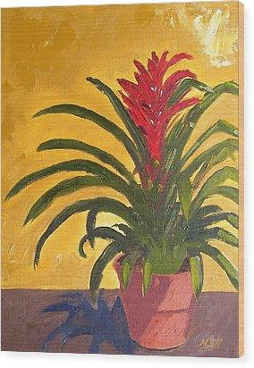 Bromeliad  Wood Print by Maria Soto Robbins