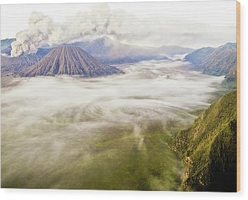 Bromo Volcano Crater Wood Print by Photography by Daniel Frauchiger, Switzerland