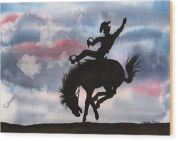 Wood Print featuring the painting Bronco Busting by Sharon Mick