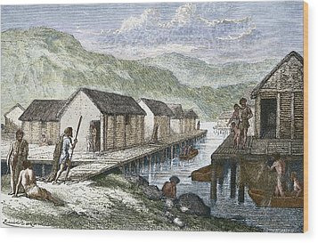 Bronze Age Village, 19th Century Artwork Wood Print by Sheila Terry