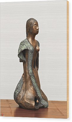 Bronze Hollow Lady In Gown Right View 2 Sculpture In Bronze And Copper Green Long Hair  Wood Print by Rachel Hershkovitz