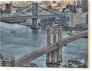 Brooklyn And Manhattan Bridge Wood Print by Tony Shi Photography