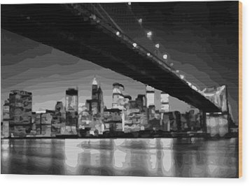 Brooklyn Bridge @ Night Bw16 Wood Print
