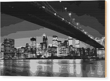 Brooklyn Bridge @ Night Bw8 Wood Print