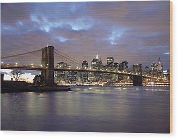 Brooklyn Bridge And Lower Manhattan Wood Print by Axiom Photographic