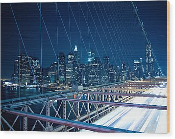 Brooklyn Bridge And Lower Manhattan By Night Wood Print by Miemo Penttinen - miemo.net