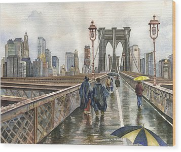Brooklyn Bridge Wood Print by Anne Gifford