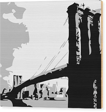 Brooklyn Bridge Bw Wood Print