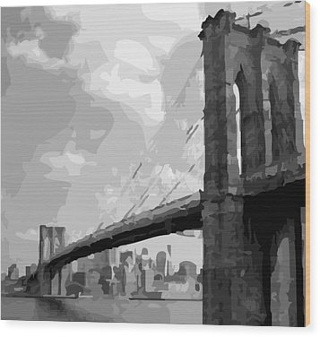 Brooklyn Bridge Bw16 Wood Print