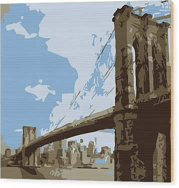 Brooklyn Bridge Color 6 Wood Print