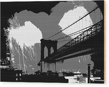 Brooklyn Bridge Fireworks Bw3 Wood Print