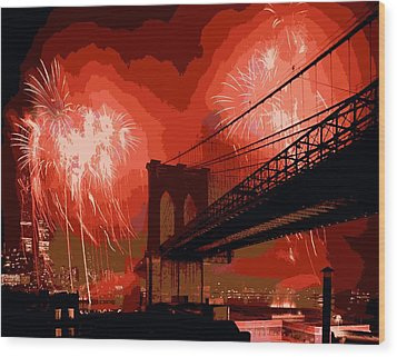 Brooklyn Bridge Fireworks Color 16 Wood Print