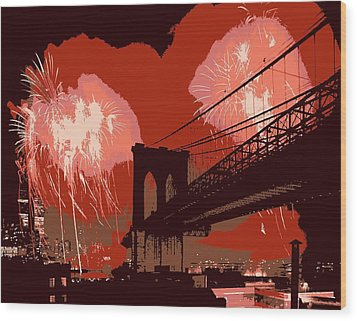 Brooklyn Bridge Fireworks Color 6 Wood Print